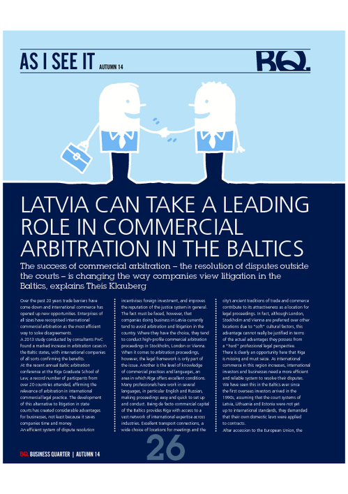 Commercial Arbitration in the Baltics Business Quarter Autumn 2014