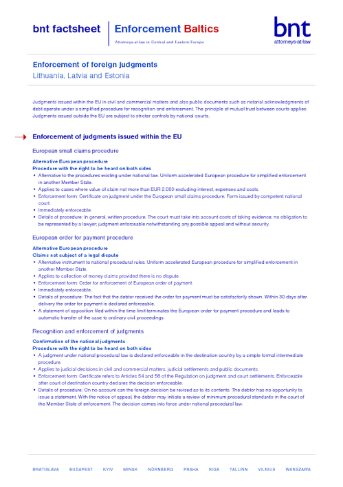 bnt factsheet: Enforcement Baltics EN