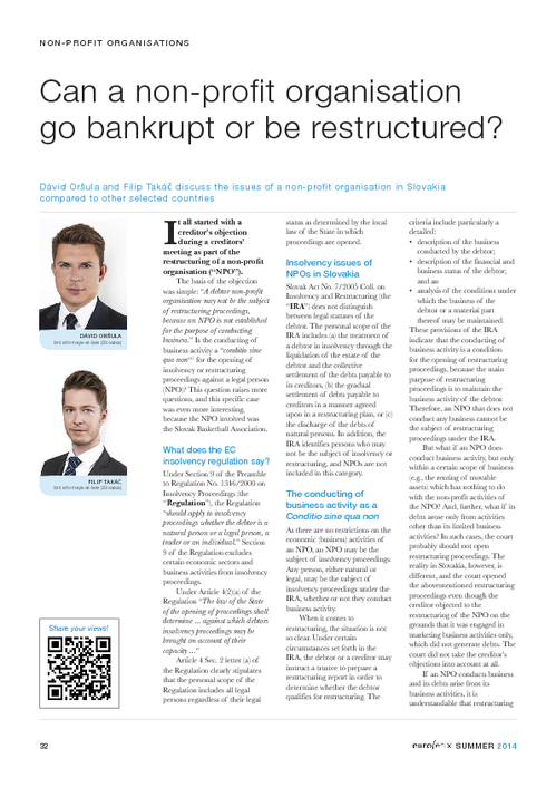 Can a non-profit organisation go bankrupt or be restructured?