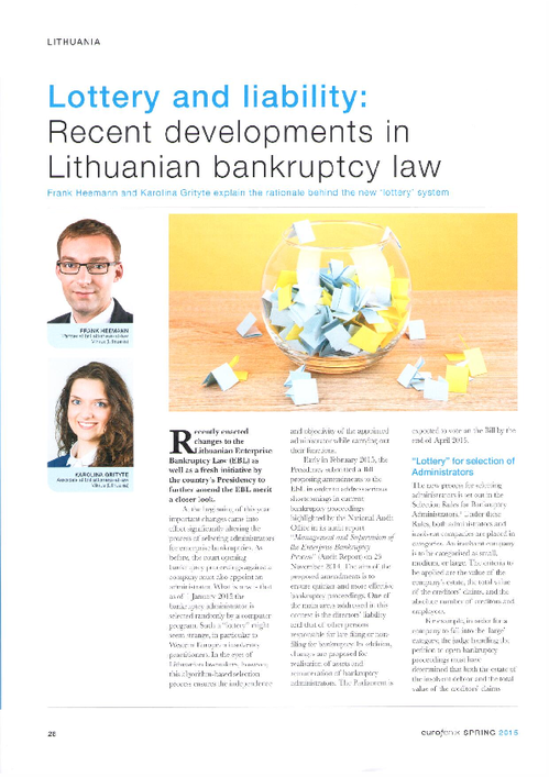 Lottery and liability: Recent developments in Lithuanian bankruptcy law - Eurofenix - Spring 2015