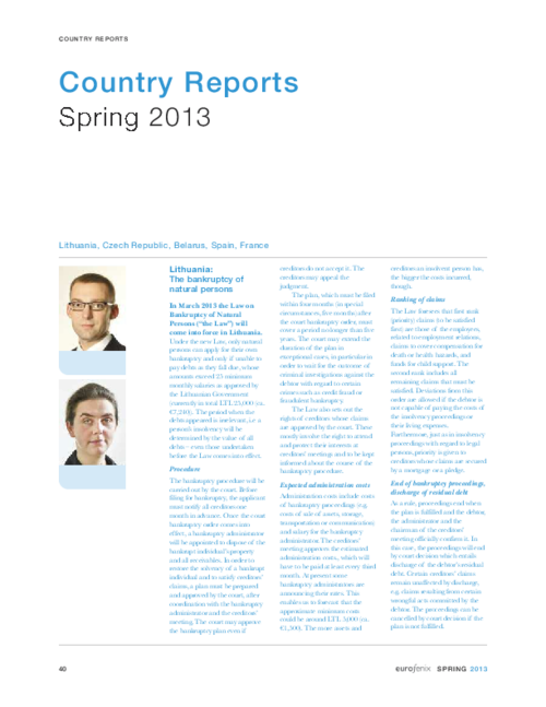Country reports - Eurofenix - Spring 2013