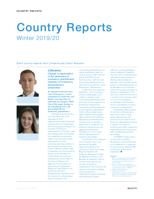 Country reports - Eurofenix - Winter 2019 / 20