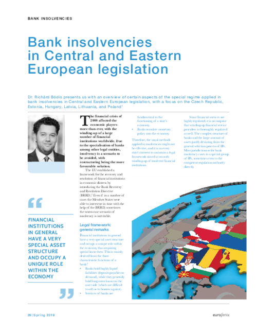 Bank insolvencies in Central and Eastern European legislation - Eurofenix - Spring 2019