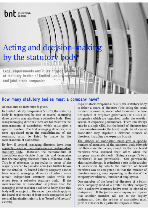 ACTING AND DECISION-MAKING BY THE STATUTORY BODY